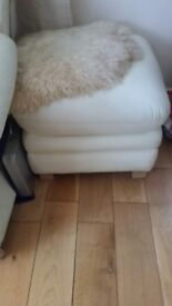 CREAM LEATHER FOOT STOOL POUFFE CHAIR