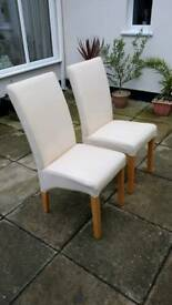2 cream well made chairs