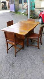 Dining Table & Chairs - Quality Extendable Dining Table with 4 Wooden and Leather Seat Chairs