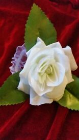 Wedding prom corsages white rose pearl