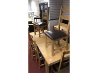 Wickham extendable dining table 8 seater with 8 solid oak kent chairs x display