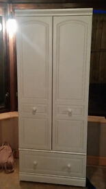 Quality wardrobe - single, with drawer in white