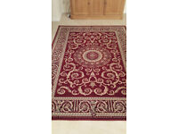 Brand new 100% wool red and ivory traditional rug 230 x 160 £150.