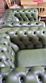 Leather chesterfield sofa and two chairs
