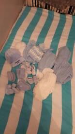 Newborn 14 piece mostly hand-knitted set