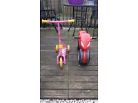 Girls scooter and bike