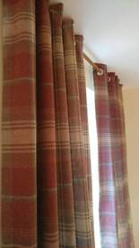 Next Woven Red Check Curtains