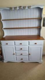 Shabby chic pine Welsh dresser with plate shelves