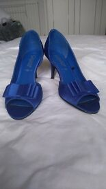 Bright Blue Satin Stiletto shoes size 5