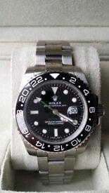 rolex gmt master ii black face silver strap sapphire glass ceramic bezal waterproof 2.5x date