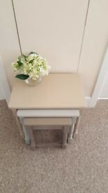 Beautiful nest of 3 tables, Hand Painted in Annie Sloan chalk paint