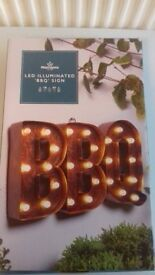Light up 'BBQ' sign, brand new in box
