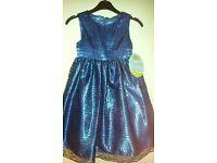 Girls Dark Blue Sequin Party Dress