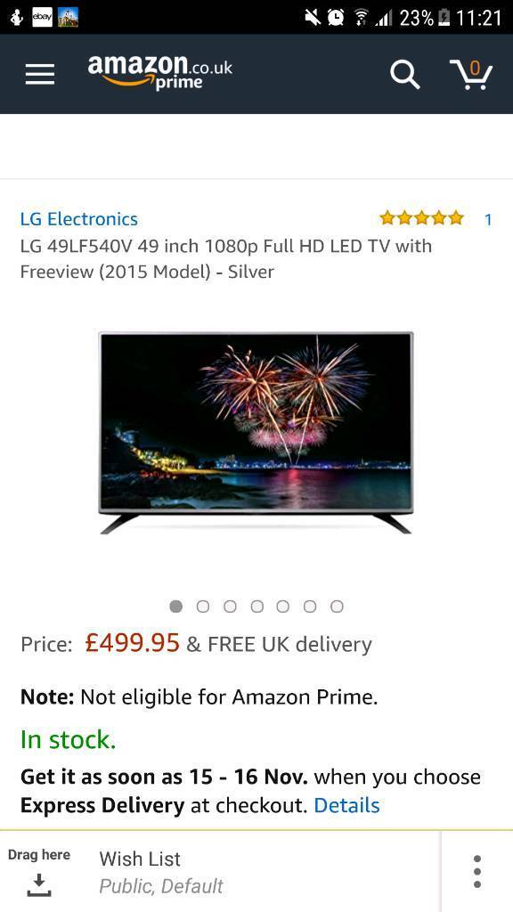 LG 49LF540V 49 inch 1080p Full HD LED TV with Freeview - Silver