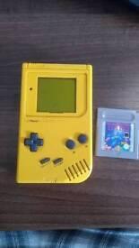Yellow Original Gameboy with Tetris