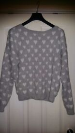 New F&F Ladies Womens Lovely Heart Jumper Top size 14
