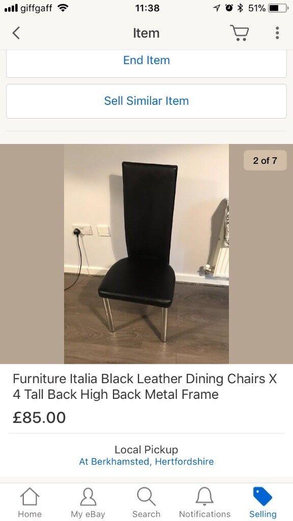 Black high back dining chairs Furniture Italia x4