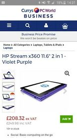 HP Stream X360 Purple Laptop/Tablet