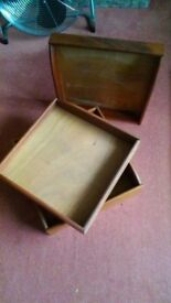 3 mahoganey storage boxes