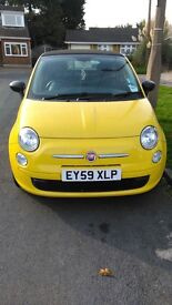Fiat 500 C POP yellow convertible. Two lady owners, 53000 miles, full service history.
