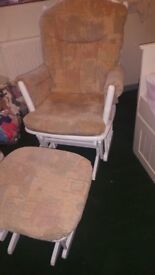 Glider Chair and Footstool Nursing Baby
