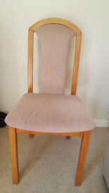 4 Dinning Chairs velour upholstery hard wood frames