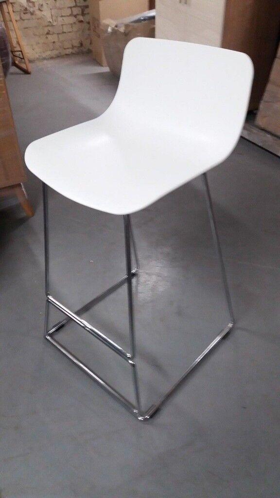 Breakfast Bar Stool White Chrome Legs Modern Styling 9075