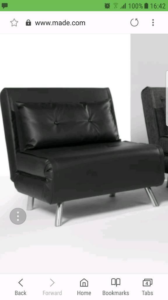 Black Leather Single Sofa Bed