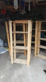 4 sets of wooden shelving