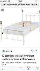 Rhône single metal bed (cream)