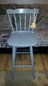 Shabby chic solid pine bar/ breakfast stool
