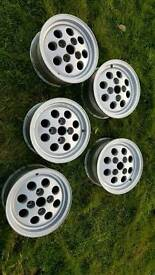 Genuine ford old school alloy wheels set of 5,possible swap