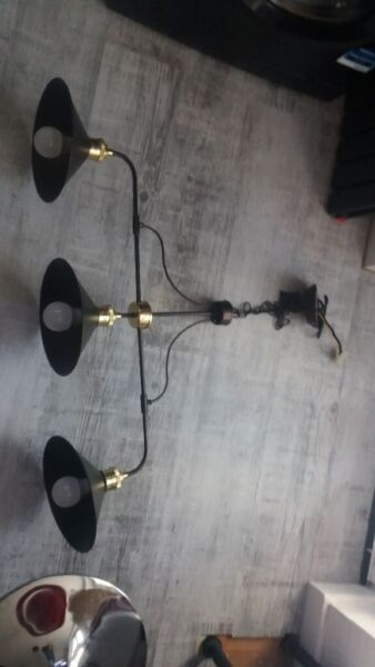 2 x tin hanging ceiling lights (triple bulbed) Antique bronze colour £30 ea or £50 for both, used for sale  Clydebank, West Dunbartonshire