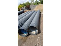 Twinwall unperforated Drain Pipe for Surface Water Drainage 450mm x 6m. Polypipe