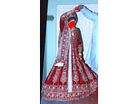 Asian Indian Bridal Wedding Dress Lengha Red and Gold
