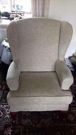 Beige Winged Back Chair