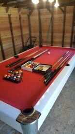 Miweba Pool table 8 Ft Billard Billiardtisch Snooker Pool 8 Foot white Red