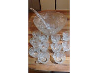 Glass punch bowl and 11 glasses