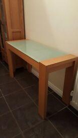 Glass top oak side table