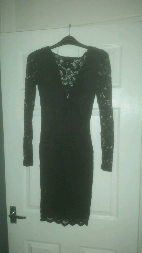 Black lace Lipsy dress size 8in Failsworth, ManchesterGumtree - Black lace dress from Lipsy, long sleeves, cowl back. In great condition as only worn once