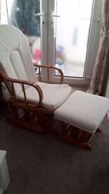 Cream and pine Nursing/Rocking Chair