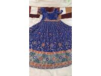 Navy lengha/dress heavily embroidered