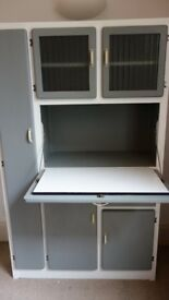 Vintage grey and white painted kitchen cabinet larder unit dresser retro cupboard 1950s style