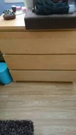 Oak veneer drawers