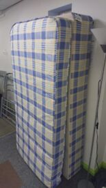 Single bed base with mattress blue checks
