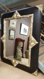 HUGE solid wood and gold designer mirror, high end item, extremely heavy