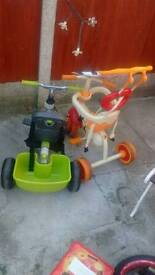 2 trikes for spares or use without parent handles
