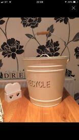 Shabby chic bin storage metal box cream