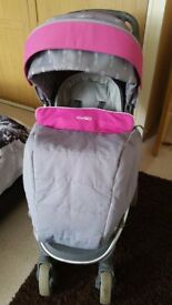 Used Buggy Pushchair Stroller for Baby Girl from 3 months - with winter cover