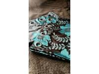 "Satin curtains black teal flower pattern 44""/53"""